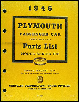 1946 Plymouth Cars Preliminary Parts Book Original