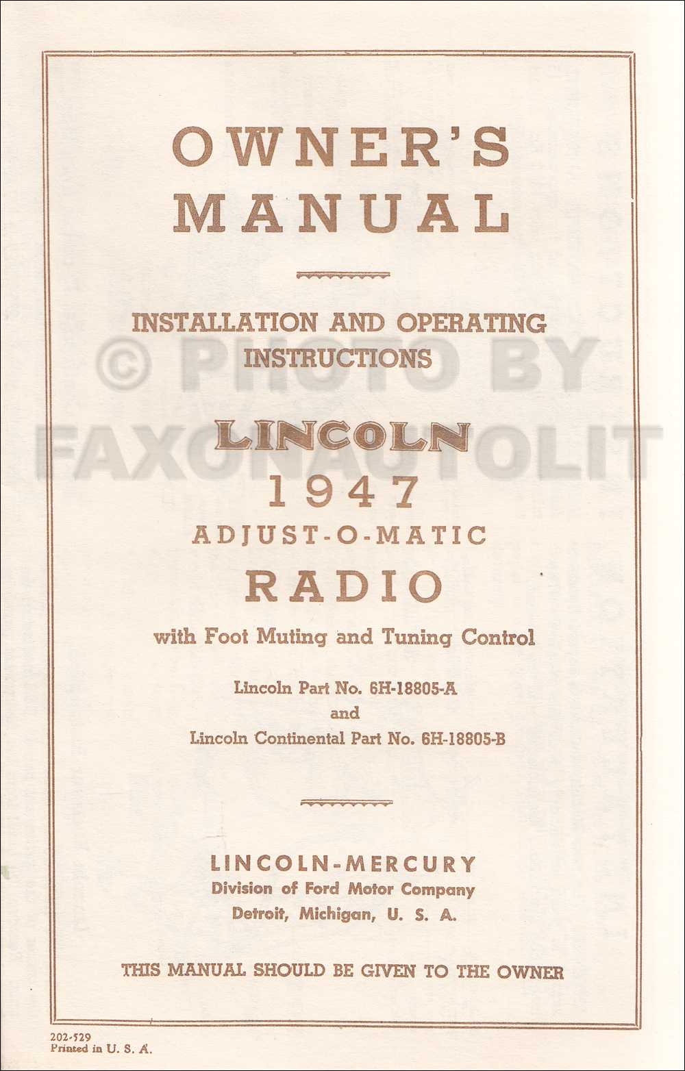 Lincolnradiorom on 1948 Lincoln Continental Wiring Diagram