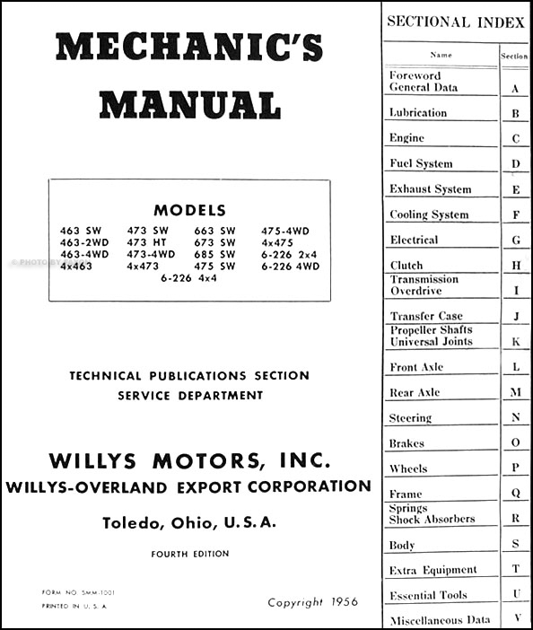 1948 56WillysUtiliyORM TOC 1948 1956 willys utility truck & station wagon repair shop manual 1949 willys jeepster wiring diagram at n-0.co