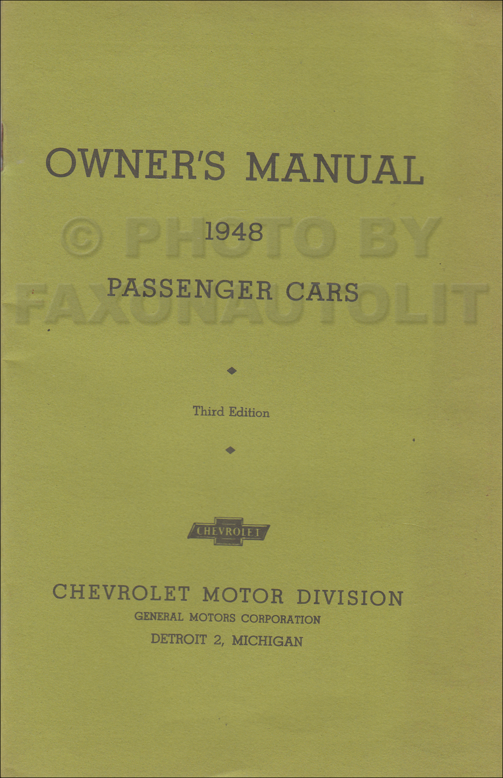 1948 Chevrolet Car Owners Manual Reprint Older Edition Additional Wiring Diagram For The 1949 Passenger Cars Convertible