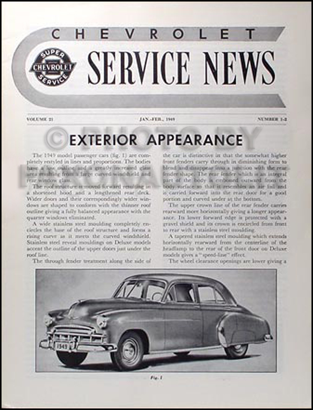 1949-1950 Chevrolet Reprint Service News - hard to find 49-50 Chevy