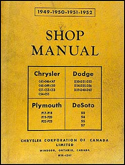 1949-1952 CANADIAN Plymouth Dodge Chrysler DeSoto Repair Shop Manual Orig.