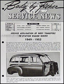 1949-1952 Station Wagon Wood Transfers Body Manual Chevy Olds Pontiac