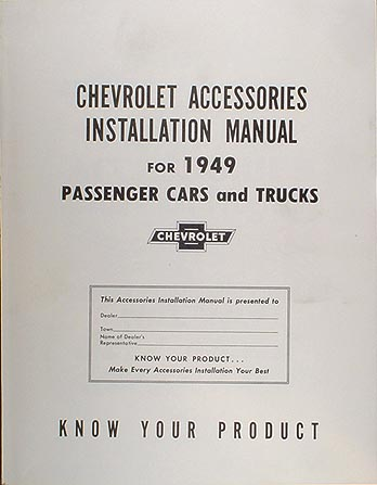 1949 Chevrolet Accessories Installation Manual Reprint Chevy Car Truck