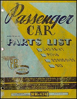 1949 Chryco Parts Book Original CANADIAN