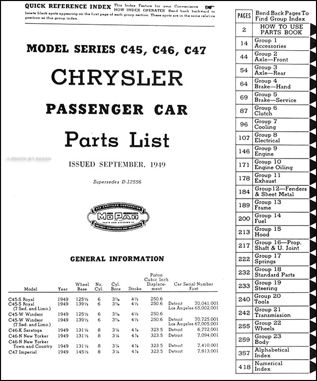 1949 chrysler parts book