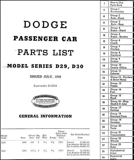 1914 1916 Dodge Brothers Parts Book Original: 1949 Dodge Parts Book Original