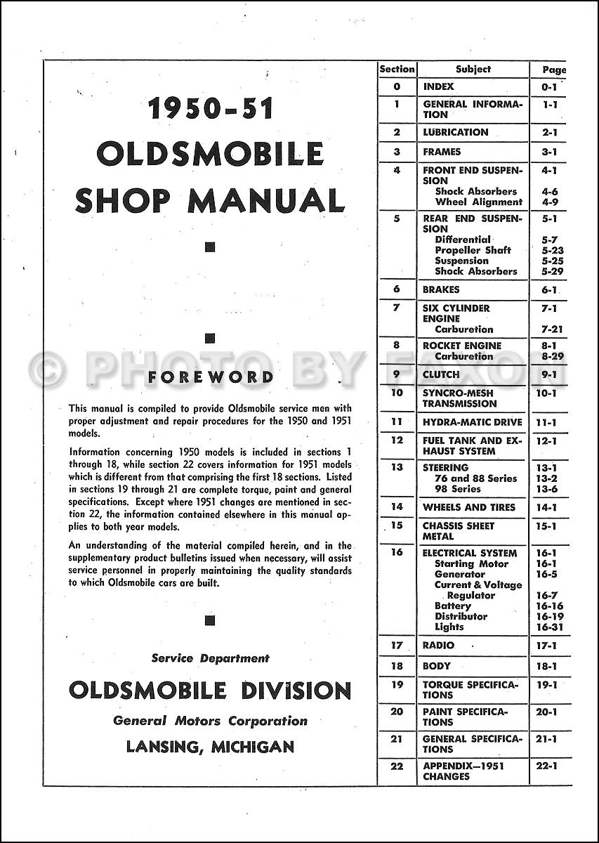 1950 1951 oldsmobile repair shop manual original