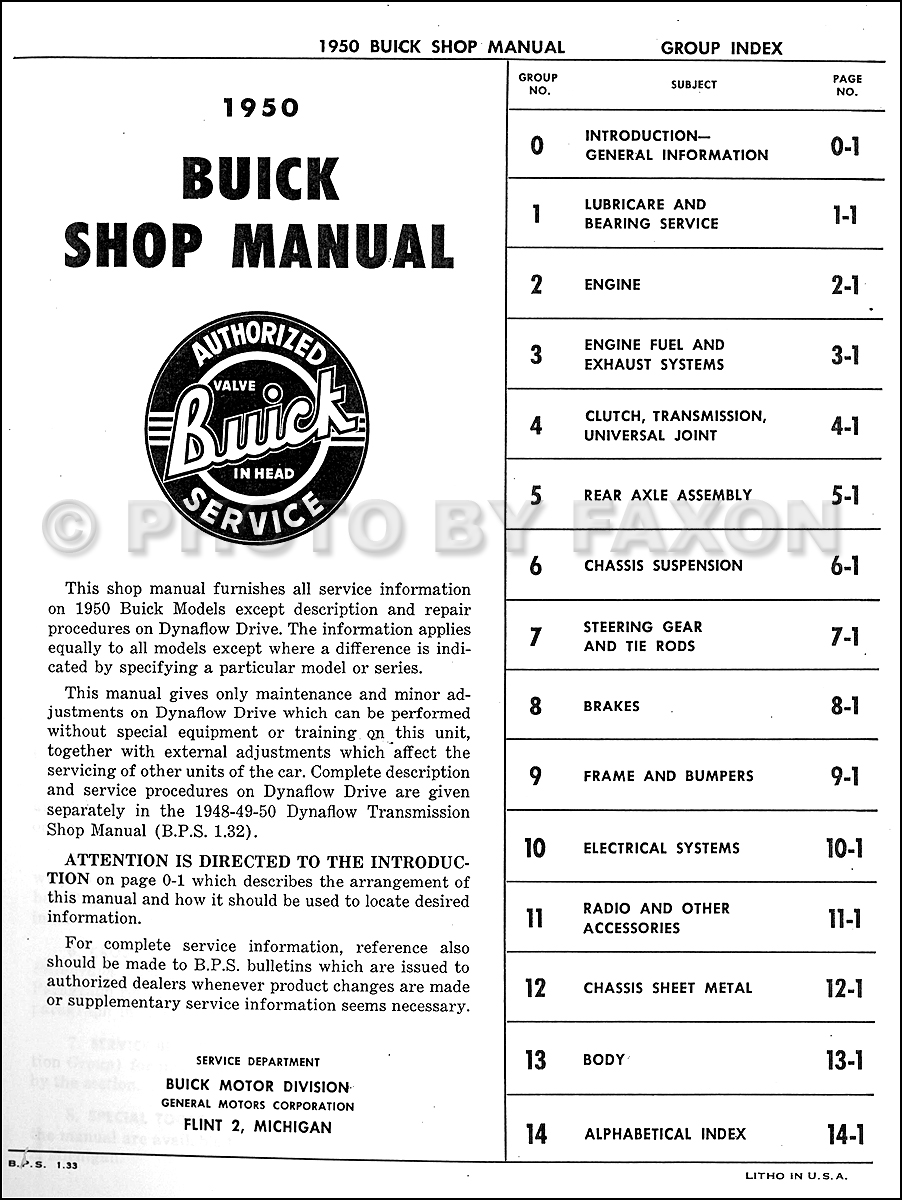 1950 Buick Repair Shop Manual Reprint