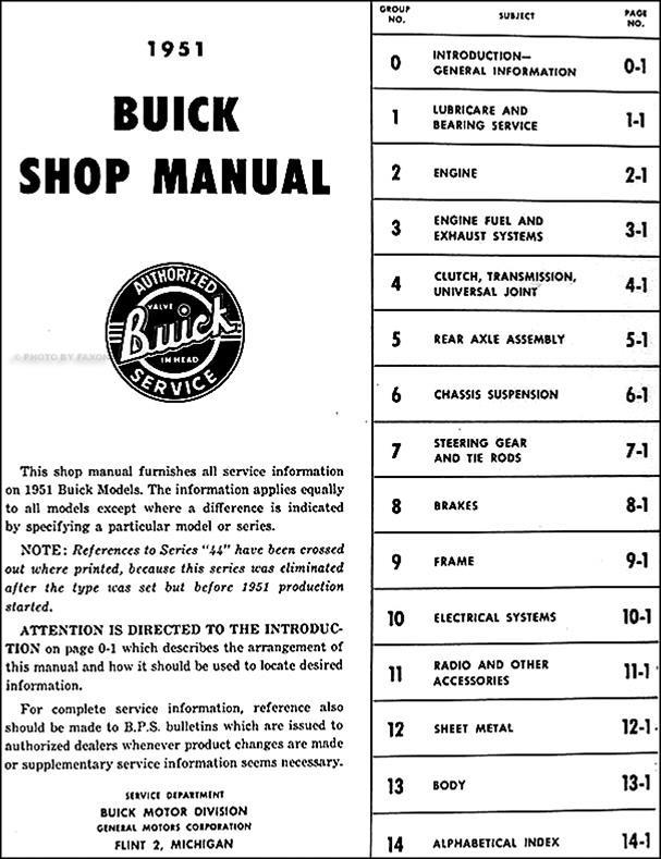 1951 buick repair shop manual reprint