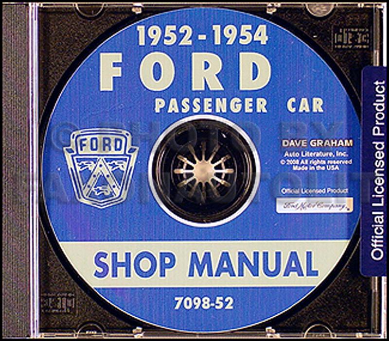 1952 1953 1954 Ford Car Shop Manual On Cd Tudor Fordor Skyliner Victoria Repair