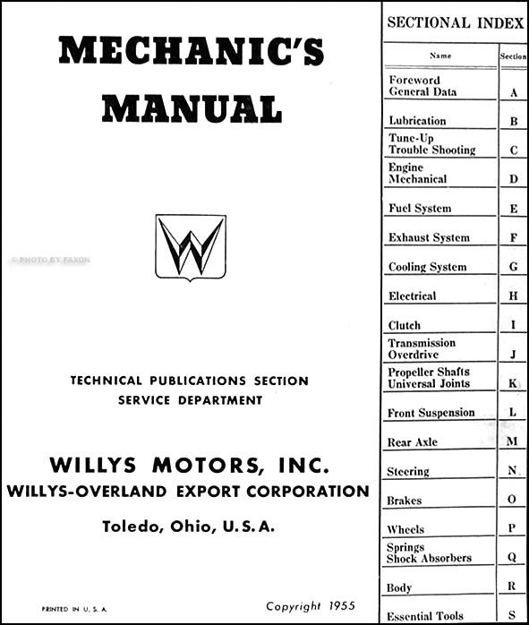 1952 1953 1954 1955 willys car repair shop manual aero. Black Bedroom Furniture Sets. Home Design Ideas