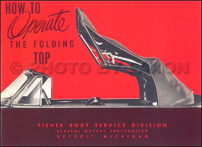 1952 GM Convertible Top Owner's Manual Reprint