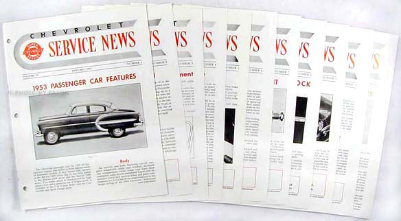 1953 Chevrolet Service News reprint (10 issues on 1953 & 2 on 1954)