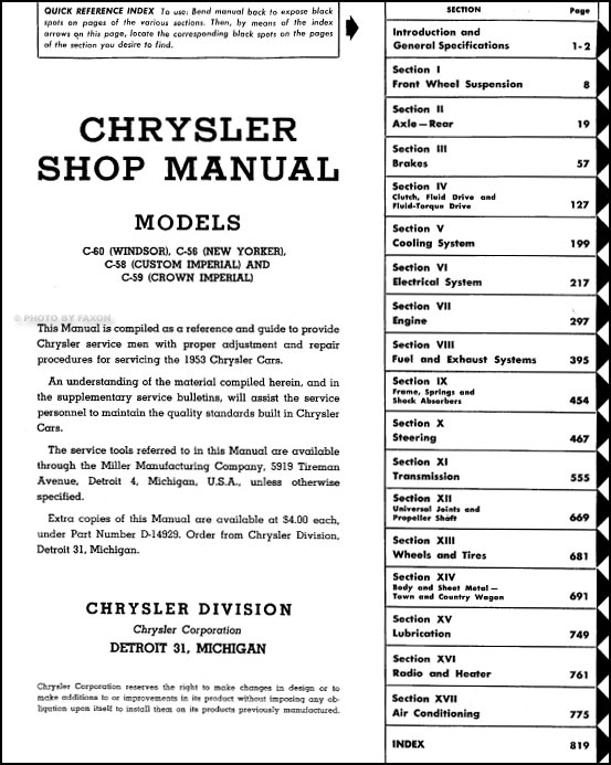 1953 Chrysler Repair Shop Manual Original