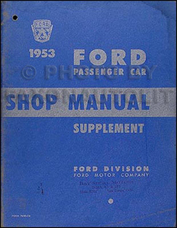 1953 Ford Car Shop Manual Supplement Original