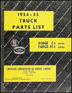 1954-1955 Canadian Dodge Truck and Fargo Parts Book Original