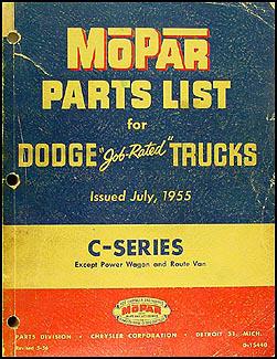 1954-1955 Dodge Pickup and Truck Parts Book Original