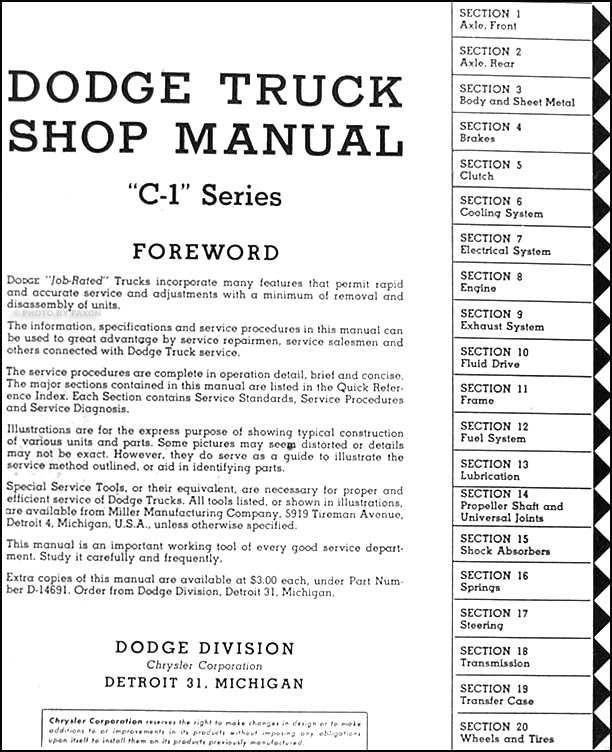 1954 55DodgeTruckORM TOC 1954 1955 dodge c 1 truck repair shop manual reprint 2 volume set 1976 dodge truck wiring diagram at aneh.co