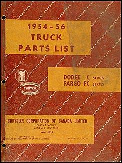 1954-1956 Canadian Dodge Truck and Fargo Parts Book Original