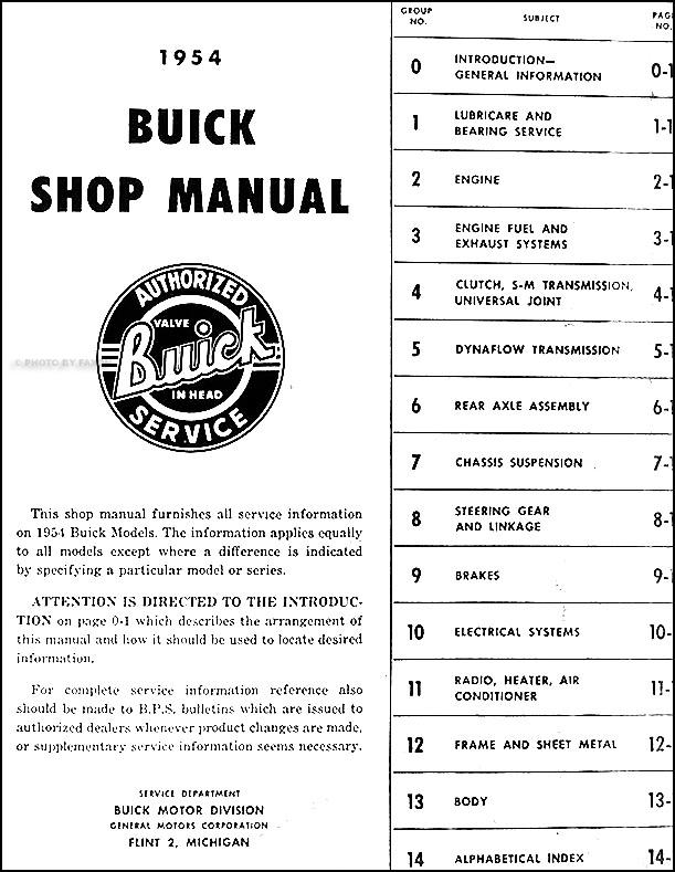 1954 buick repair shop manual original all models rh faxonautoliterature com 1955 Buick Special 1956 Buick Special