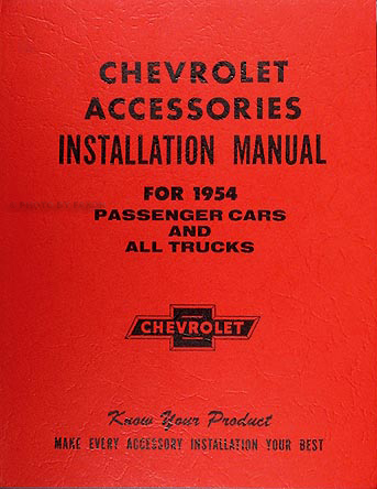 1954 Chevrolet Accessories Installation Manual Reprint Chevy Car Truck