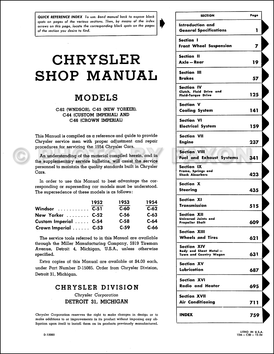 1954 Chrysler Repair Shop Manual Reprint