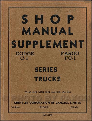 1954-1955 Dodge Truck & Fargo CANADIAN Repair Manual Original