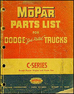 1954 Dodge Pickup and Truck Parts Book Original
