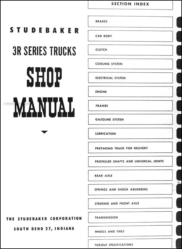1954 studebaker 3r series trucks repair shop manual original. Black Bedroom Furniture Sets. Home Design Ideas