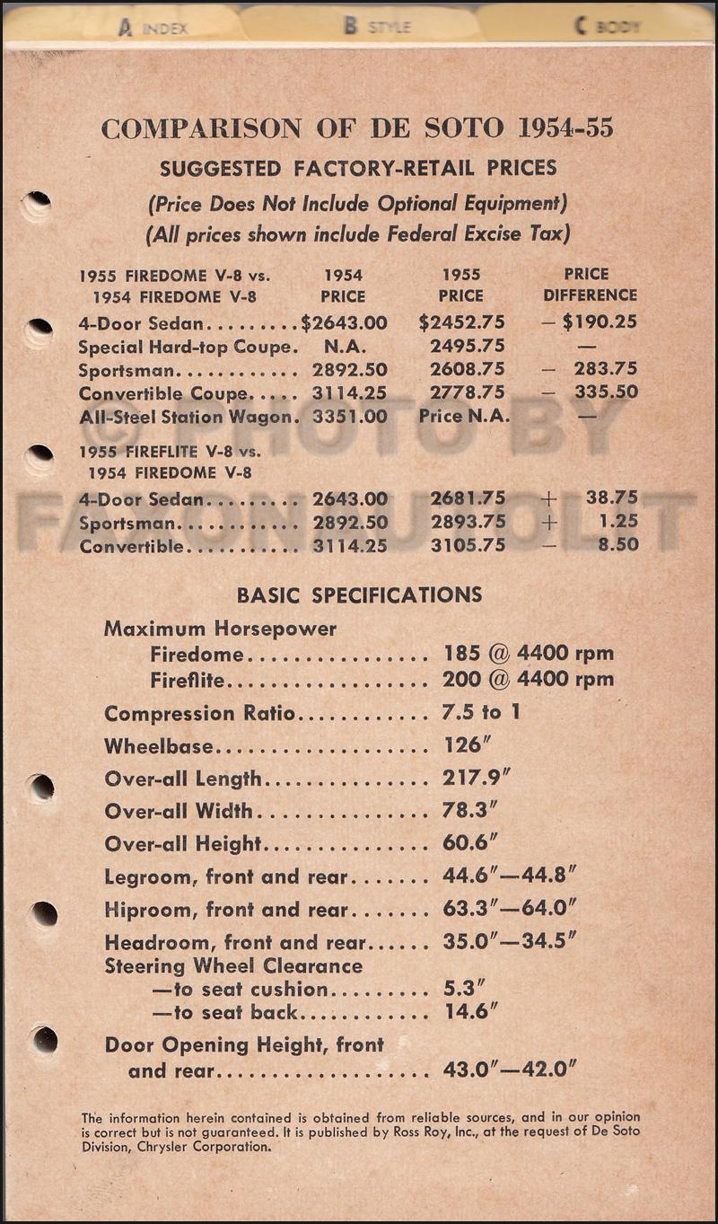 1955 Desoto Data Book Original $19900