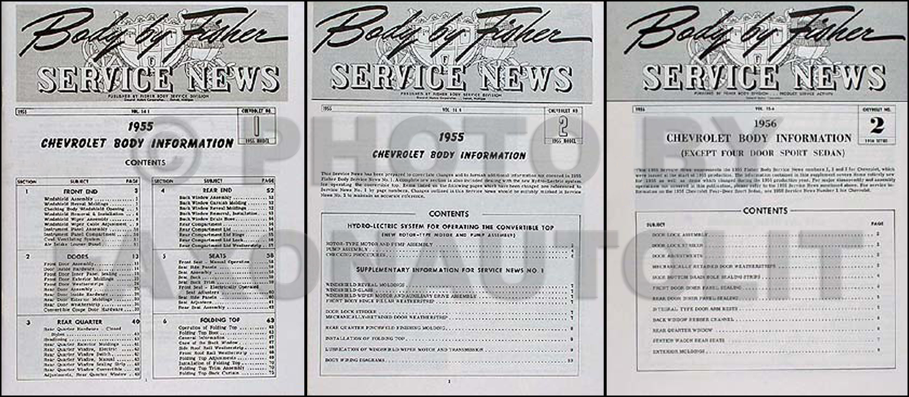 1956 Chevrolet Bel Air/150/210 Body Manual Reprint Set