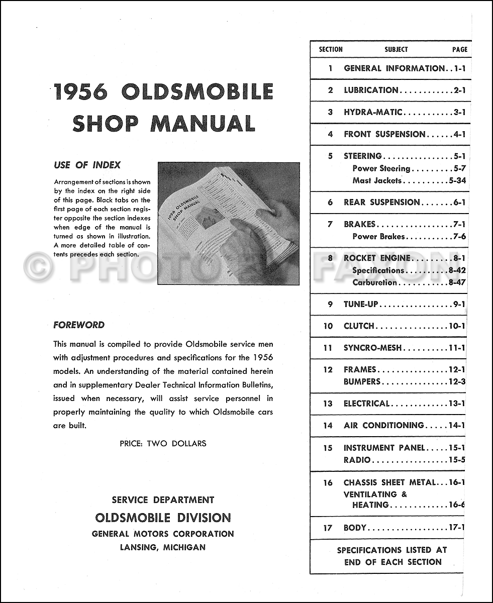 1956 Oldsmobile 88 And 98 Shop Manual On Cd Rom 56 Olds