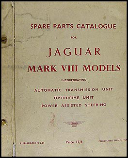 1957-1961 Jaguar Mark VIII IX Power Steering Repair Shop Manual ...