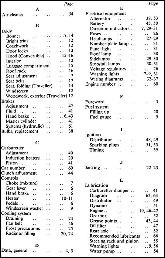 1957 1971 morris minor 1000 owner s manual reprint