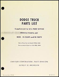 1954-1957 Dodge T436 Post Office Vehicle Parts Book Original Supp.