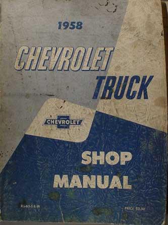 1958 Chevrolet Pickup and Truck Repair Shop Manual Original