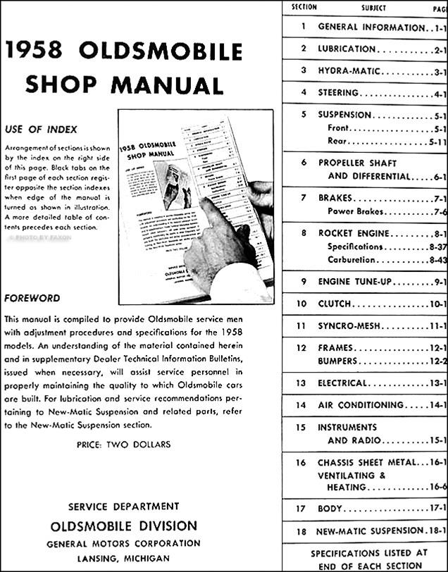1958 oldsmobile repair shop manual reprint