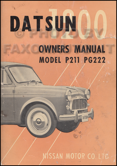 1959 1960 datsun 1200 owner s manual original p211 pg222 u rh faxonautoliterature com datsun 1200 workshop manual nissan datsun 1200 manual