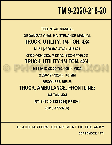 1960-1978 Military Jeep M151 Shop Manual Reprint