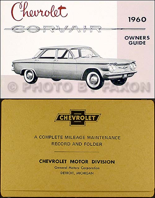 1960 1961 chevrolet corvair wiring diagram manual car monza van pickup 1960 chevy corvair owner s manual envelope package reprint
