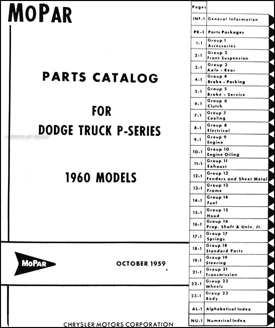 1960 dodge pickup and truck parts book original