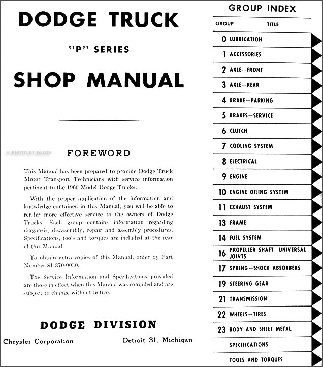 1960 Dodge Truck Shop Manual Pickup Power Wagon Panel ...