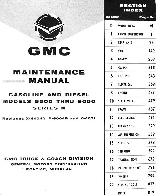 1960 1961 gmc 5500 9000 repair shop manual original. Black Bedroom Furniture Sets. Home Design Ideas
