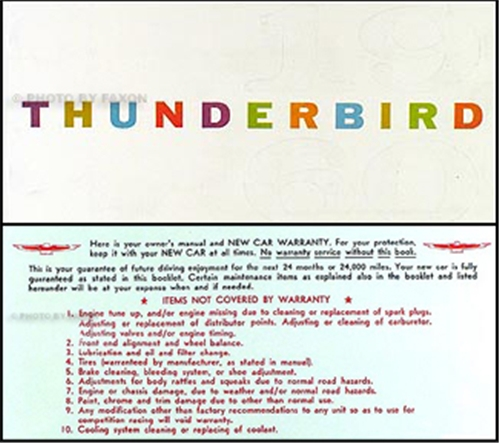 thunderbird owners manual  envelope  ford