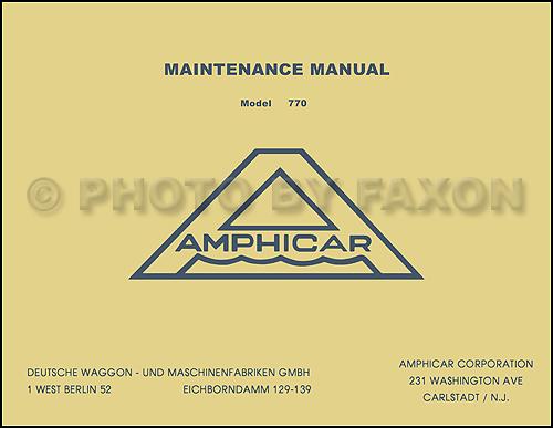 1961-1967 amphicar factory shop manual reprint