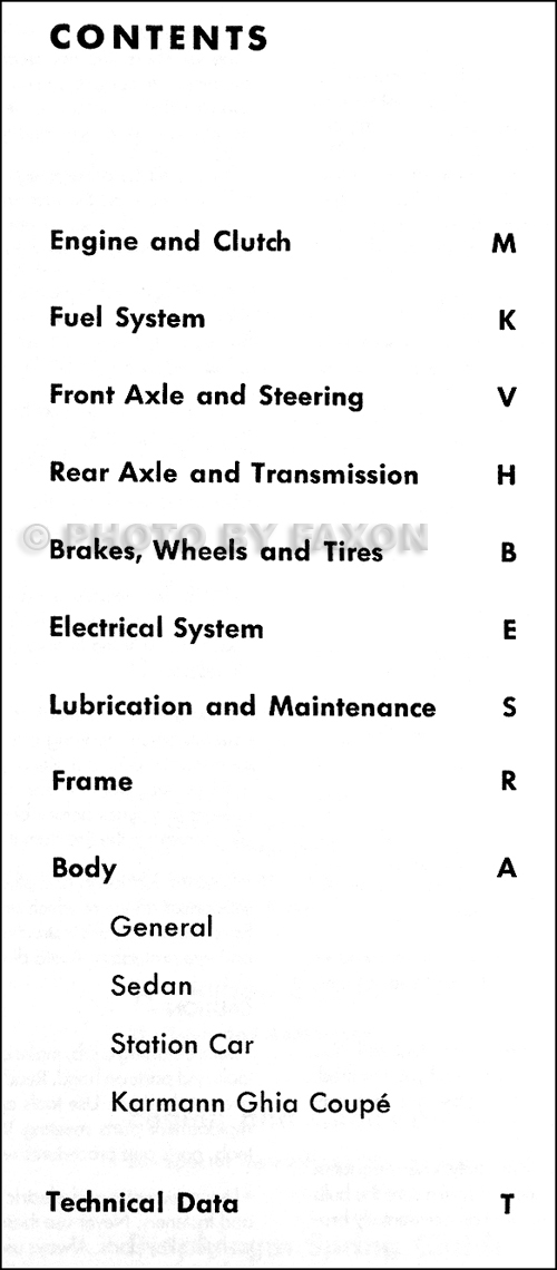 Vw 3 shop manual table of contents fandeluxe Choice Image