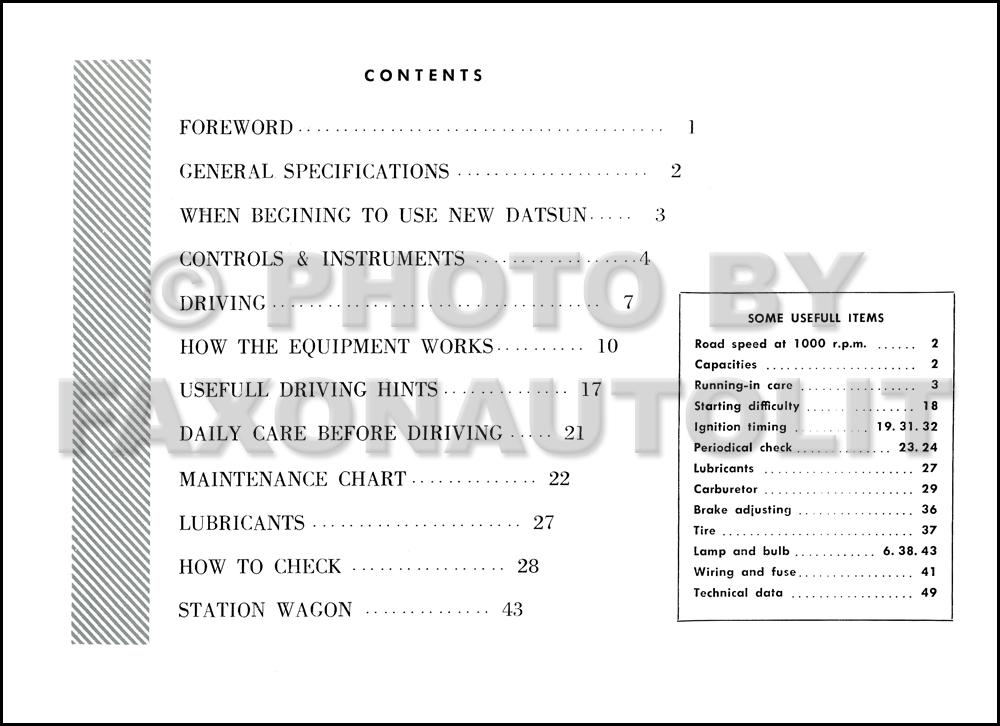 1961 datsun bluebird owner s manual original p311 and wp311 useful rh faxonautoliterature com Nissan Bluebird Sylphy Nissan Bluebird SSS