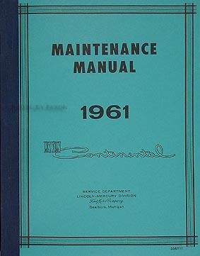 1961 Lincoln Continental Shop Manual Reprint