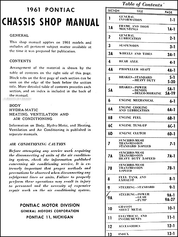 1961 pontiac repair shop manual original bonneville ventura chief